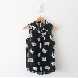 💕Xhilaration Cat Layered Button Down Shirt